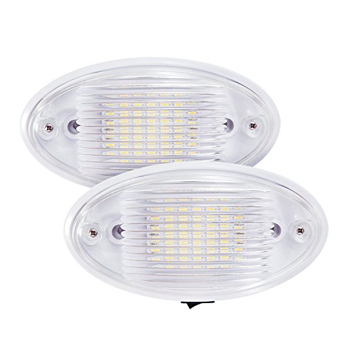 Kohree 2 Pack Led RV Porch Light 12V RV Exterior Light for Trailer Camper with Switch and Removable Lens, White (Rv Light Fixture Lens compare prices)