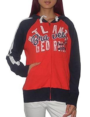 MLB ATLANTA BRAVES Womens Athletic Zip-Up Hoodie (Vintage Look)
