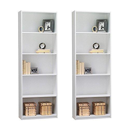 Ameriwood 5-Shelf Bookcase, Set of 2, White White 5 Shelf Bookcase