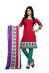 Kanheyas Red Cotton Printed Dress Material With Chiffon Dupatta