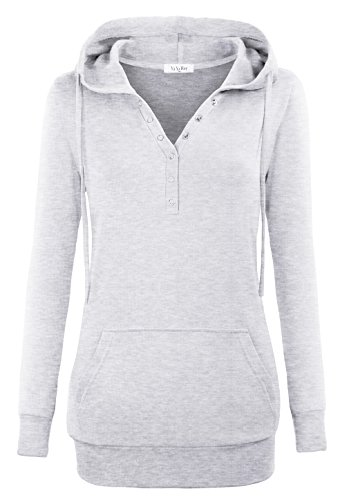 Pullover Hoodies For Women,YaYa Bay Womens Long Sleeve String Pullover Stylish V Neck Kangaroo Pouch Pocket Vintage Buttons Tunic Sweater Hoodie 2X Large Grey (Hooded Sweatshirt Tunic compare prices)