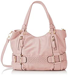 MG Collection Samantha Weave Belt Hobo Handbag, Pink, One Size