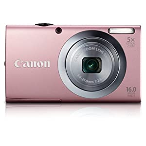 Canon PowerShot A2400 IS 16MP Point-and-Shoot Digital Camera (Pink) with 4GB Card, Camera Case