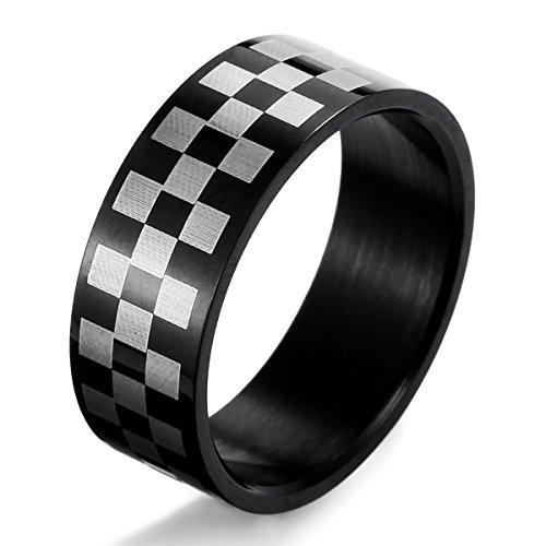 munkimix-acciaio-inossidabile-anello-anelli-banda-nero-bianco-griglia-dimensioni-25-uomo