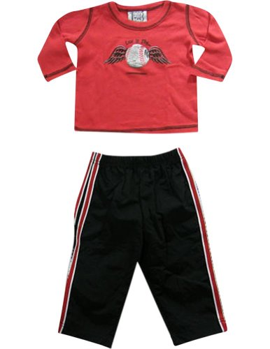 Mis Tee V-Us - Baby Boys Long Sleeve Pant Set, Red, Black 19173-18Months front-929438