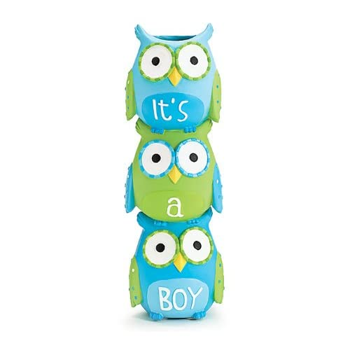 Its A Boy Blue Owl Stacked Vase for Baby Nursery Decor or Baby Shower