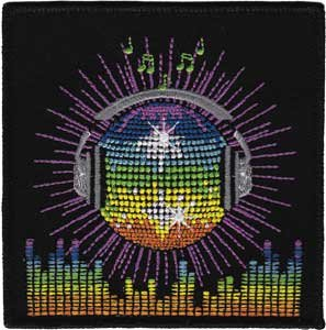 Disco Ball With Headphones - 70'S Retro - Iron On Or Sew On Embroidered Patch