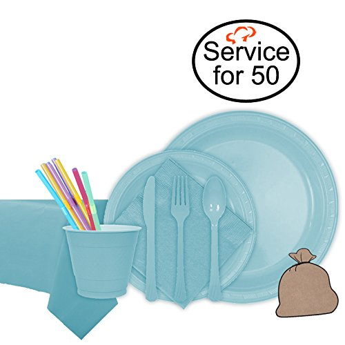 Tiger Chef Light Blue Party Supplies Set for 50, Includes Plastic Party Plates, Plastic Cups, Napkins, Disposable Cutlery, Table cover, Straws, and Garbage Bag - Complete Party Pack (Paper Goods For Baby Boy Shower compare prices)