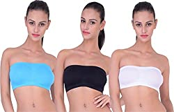 PIFTIF seamless non padded non wire strapless bandeau full side covrage tube bra for women's and girl s fit size ( 28 in to 36 in) WHITE SKY BLACK
