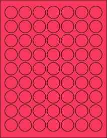 """(6 SHEETS) 378 1"""" Blank Round Circle Fluorescent HOT PINK Stickers for Inkjet & Laser Printers. Size: 8-1/2""""x11"""" Standard Sheets"""