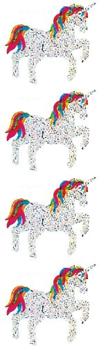 Jillson Roberts Prismatic Stickers, Unicorn with Rainbow Mane and Tail, 12-Sheet Count (S7191)