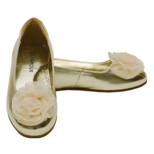 L'Amour Toddler Girls 10 Gold Flower Slip On Dress Shoes front-303531