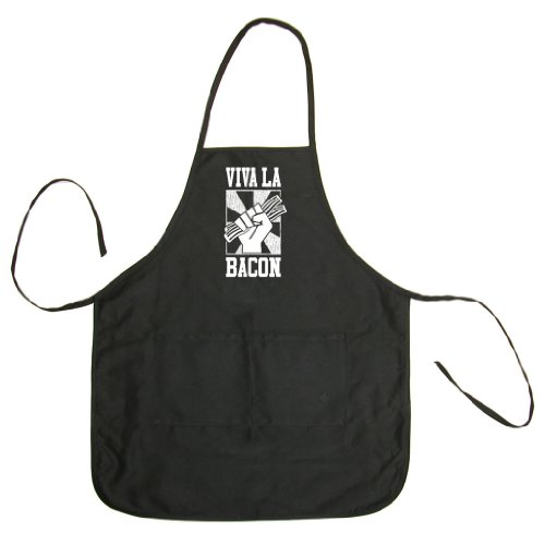 Tasty Threads Viva La Bacon Adult BBQ Cooking & Grilling Apron (Black, One Size)