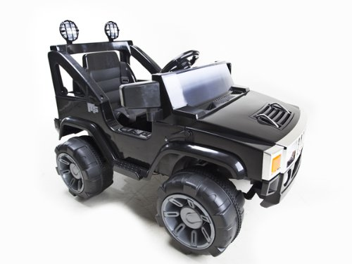 Black 1 Seat 12V Hummer Style Jeep + Remote 12V Rc Battery Power Kids Ride On Hummer Jeep Car W/ Big Wheels & R/C Remote Black