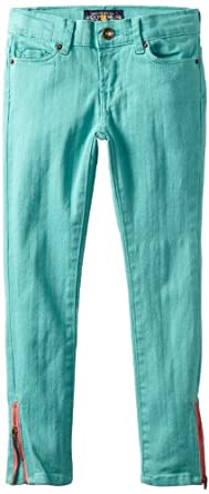 Lucky Brand Big Girls' Zoe Solid Twill Ankle Pant, Green, 7