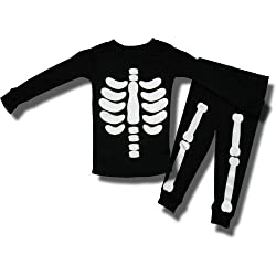 Halloween Black Skeleton Pajamas for Infant Boys