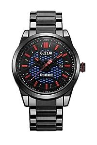 U_nique Men's GN-116 Sports Stainless Steel Solar Power Quartz Watch(Red-Black)
