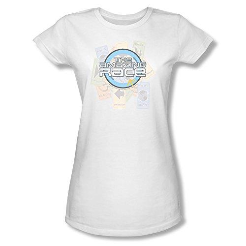 Amazing Race Reality Tv Game Show Original Logo Clues Juniors Sheer T-Shirt