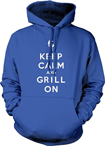 Keep Calm And Grill On Hooded Sweatshirt, Funny BBQ Bar-B-Que Keep Calm Grill On Design Hoodie (Royal Blue, Large)