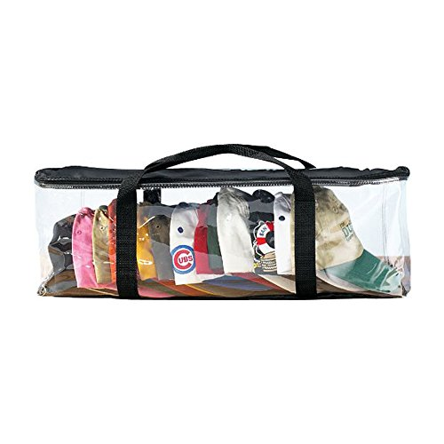 Houseables Hat Organizer, Cap Storage Bag, Clear Plastic Case, Black Handles, Zipper Closure, 23