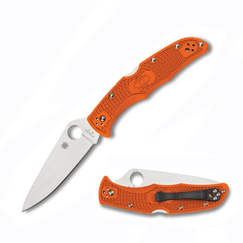 Spyderco Endura4 Lightweight FRN Flat Ground Plain Edge Knife, Orange image