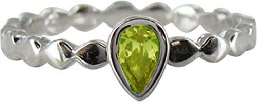 Stack Ring Co Sterling Silver Rhodium Plated Rub Over Setting Pear Shaped Peridot Cubic Zirconia Stack Ring