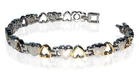 New Titanium Magnetic Two Tone Heart Bracelet 7.5″