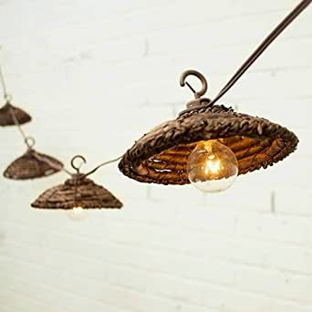 Cafe String Lights, Globe Bulbs, Woven Shades, 6 Ft, Outdoor, Plug In - - Amazon.com