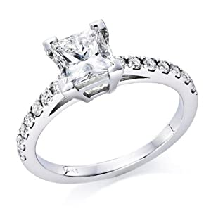 3/4 ctw. Princess Cut Diamond Solitaire Engagement Ring in 14k White Gold