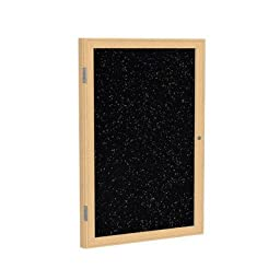 1 Door Enclosed Bulletin Board Surface Color: Tan Speckled, Size: 2\' H x 1\'6\
