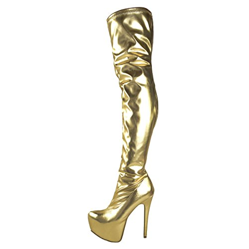 03. Fashion Thirsty Womens Mens Unisex Over Knee Thigh High Heel Stretch Faux Leather Suede Boots Shoes Size