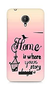AMEZ home is where your story begins Back Cover For Micromax Canvas Spark Q380