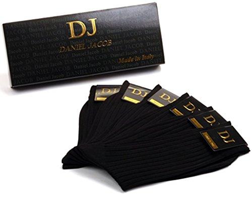 ダニエルジェイコブ(Daniel Jacob) 上質 紳士用 ビジネスソックス ブラック6足セット ふくらはぎ丈 イタリア製 エジプト綿100%  ストライプ柄 ギフトボックス入り