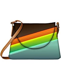 Snoogg Set Of Colorful Strips Designer Womens Carry Around Sling Bags