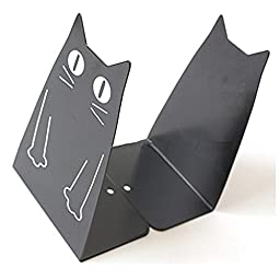 HITOP Cute 1 Pair Cat Bookends Bookend Stand Art Gift (Black)