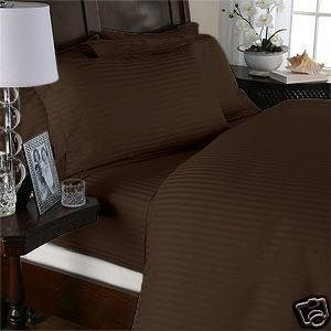 Grandeur Linens 1000 Thread Count Four (4) Piece Full Size Chocolate Stripe Bed Sheet Set, 100% Egyptian Cotton, Deep Pocket front-633123