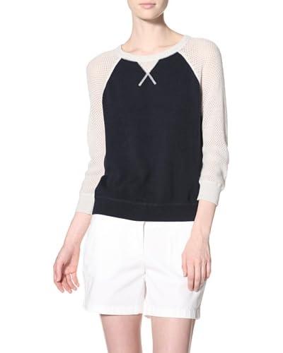Autumn Cashmere Women's Colorblock Mesh Sweatshirt