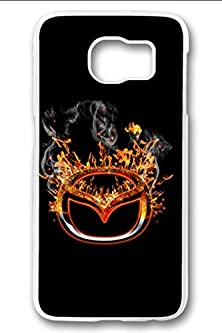 buy S6 Case,Hard Shell Plastic Pc [Clear] Crystal Cover Snugly Sleek Slim Lightweight Frosted Colorful Vibrant Fit Headphones Port Oil Water Proof Samsung Galaxy S6-Burning Mazda Logo