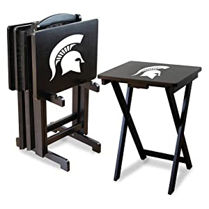 NCAA Michigan State Spartans TV Snack Trays with Storage Rack (Set of 4) by Imperial
