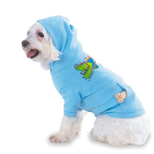 Bring On The Naked Machine Operators Hooded (Hoody) T-Shirt with pocket for your Dog or Cat MEDIUM Lt Blue