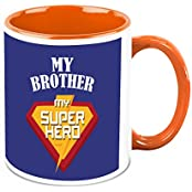 Mug For Brother - HomeSoGood My Brother My Super Hero White Ceramic Coffee Mug - 325 Ml
