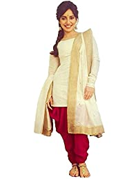 Purva Art Womens Latest Royal Cream & Red Cotton Dress With Golden Lace Border Dupatta Set (PA_48001_Color_Red_Cream_Un-Stitched_)