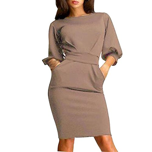 gagnell-womens-slim-bodycon-half-sleeve-o-neck-party-office-business-dress-khakismall