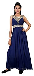 Carrel Imported Stretchable Net Fabric Sleeveless With Designer Neck Women's Plain Maxi Dress/Gown