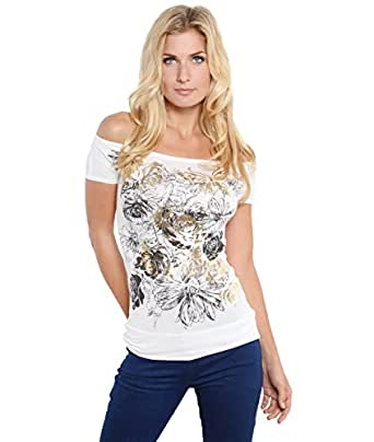 Shop Womens Butterfly Floral Foil Print Boat Neck Batwing Top T Shirt Blouse New (Cream,8)