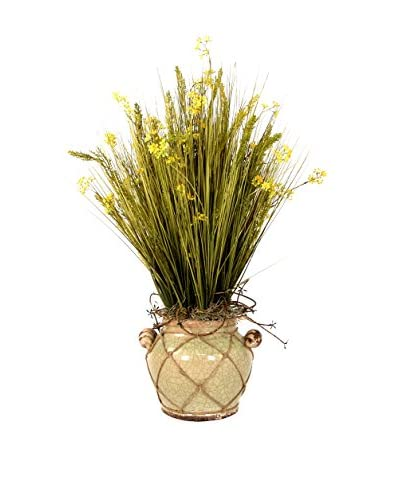 Creative Displays Sea Grass With Buds Planter, Green/Yellow