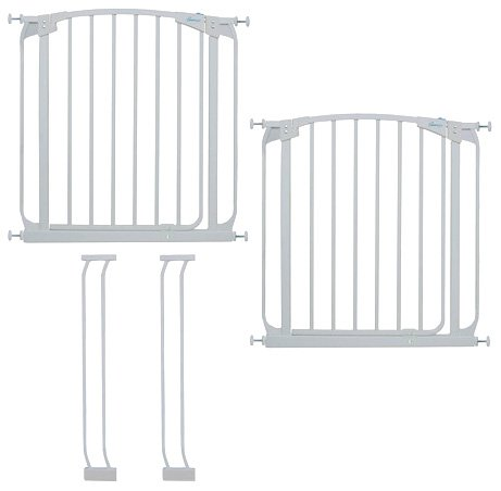 Dreambaby Chelsea Auto Close Security Gate in White Value Pack (Includes 2 Gates and 2 Extensions)