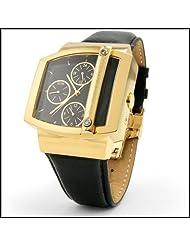 Raphael Leon Mens Elite Edition 18k Yellow Gold Over Solid Stainless Steel Dual Timezone Swiss Movement Diamond Designer Timepiece