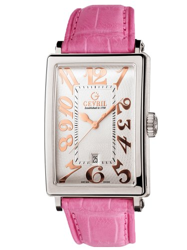 Gevril Women's 7045R.10B White Guilloched Dial Genuine Alligator Strap Watch