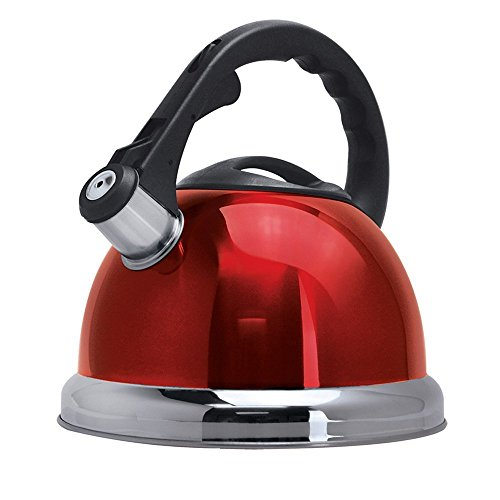 Royal Cook Stainless Steel Whistling Kettle with Capsulated Bottom, 3 L, Red